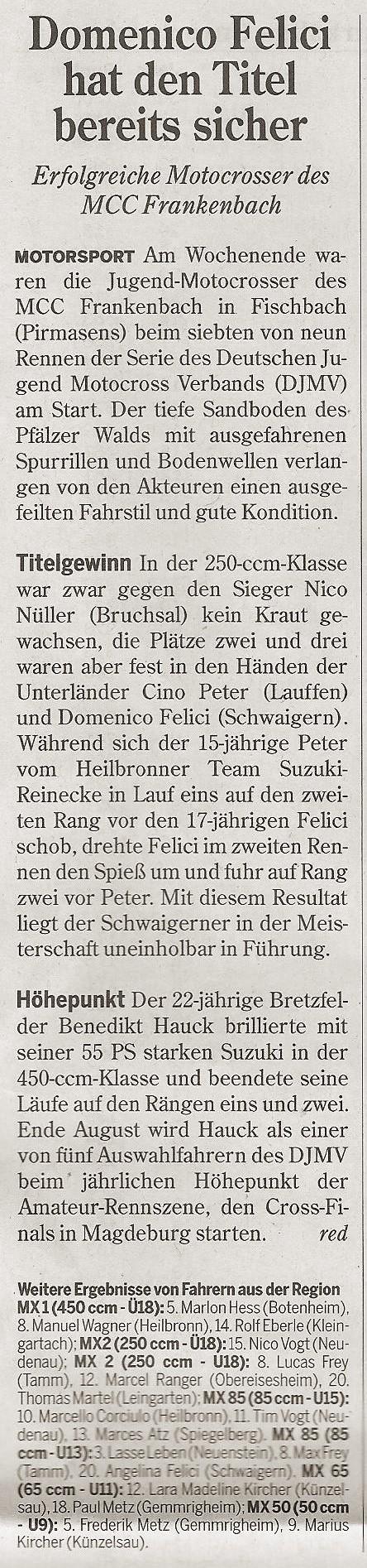 Heilbronner_Stimme_MCC-Frankenbach_Presse_DJMV_Fischbach